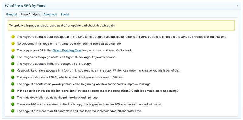 Con un sencillo código de colores desde el rojo al verde según el grado de optimización, el plugin te asesora sobre cuál es la mejor manera de ajustar tu entrada para conseguir un adecuado posicionamiento web.
