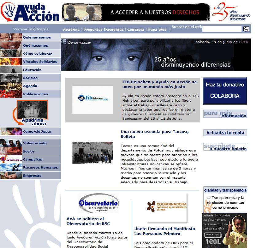Web de Ayuda en Acción en 2009
