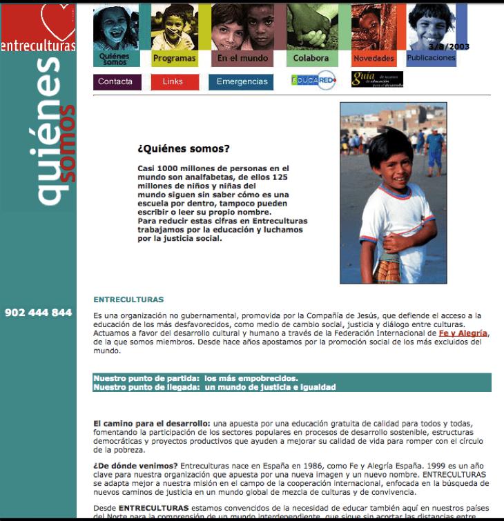 Pantallazo de la página web de Fundación Entreculturas en el año 2002