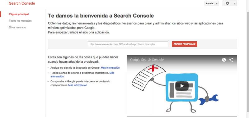 Verificar una propiedad en Search Console