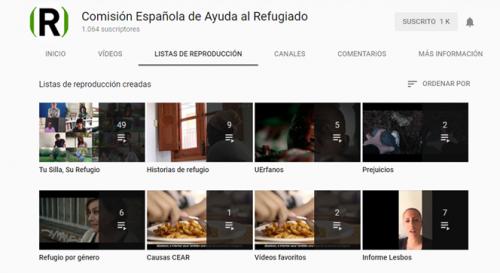 Canal de youtube de CEAR sección listas de reproducción del canal