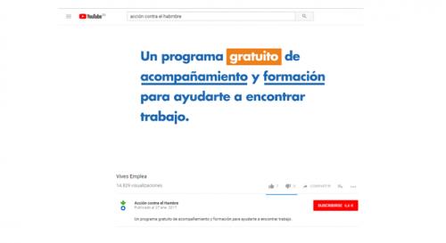 Promoción curso de formación en el canal de youtube Acción contra el Hambre