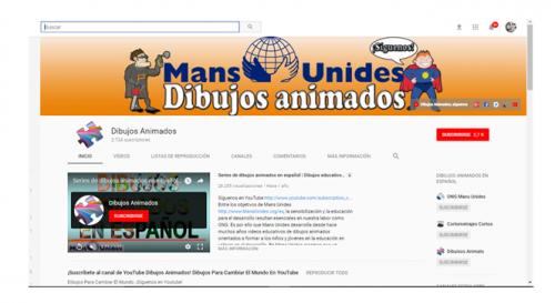 Canal Youtube Manos Unidas camapaña para educadores con dibujos animados