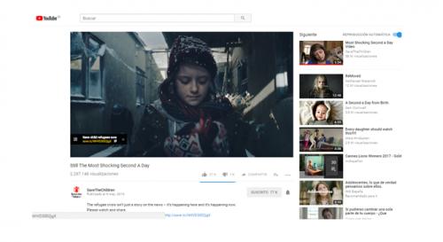 Campaña de ayuda a los refugiados canal Youtube Save the Children