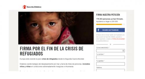 Formulario recogida firmas campaña Save the children