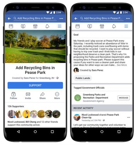 novedades redes sociales facebook Community Actions